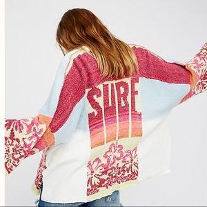 Free People kimono sweater Surf floral cardigan